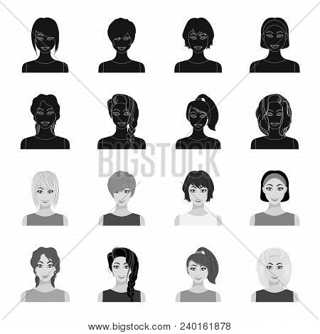 Types Of Female Hairstyles Black, Monochrome Icons In Set Collection For Design. Appearance Of A Wom