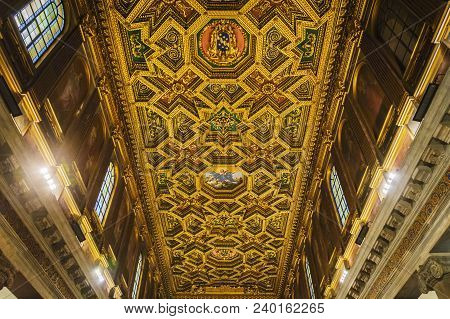 Rome, Italy, March 2017: Detail Of The External Facade Of The Teatro Argentina In Rome. This Theater