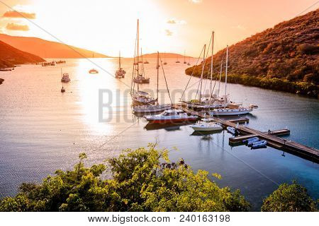Beautiful sunset scene on the island of Virgin Gorda in BVI