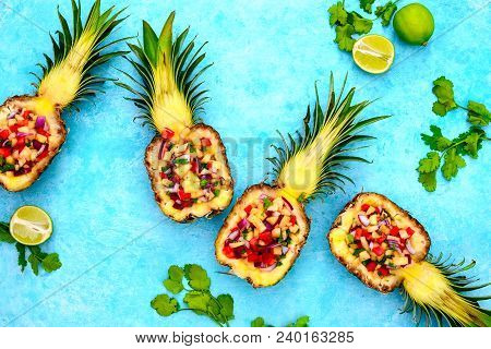 Pineapple Salsa Served In A Pineapple Shell, Summer Cute Food Concept, View From Above