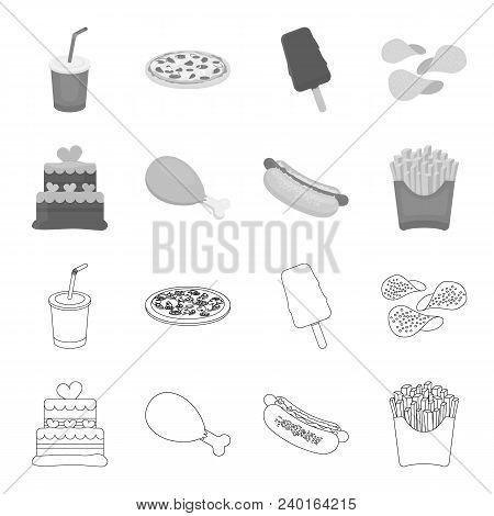 Cake, Ham, Hot Dog, French Fries.fast Food Set Collection Icons In Outline, Monochrome Style Vector