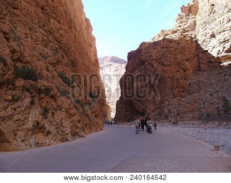 Great African Rocky Slope Todgha Gorge Canyon Landscapes In Morocco At High Atlas Mountains Range At