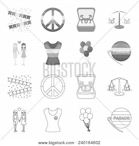 Lesbians, Dress, Balls, Gay Parade. Gay Set Collection Icons In Outline, Monochrome Style Vector Sym