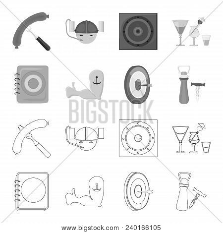 Menu, Armor With Tattoo, Darts, Corkscrew And Opener.pub Set Collection Icons In Outline, Monochrome