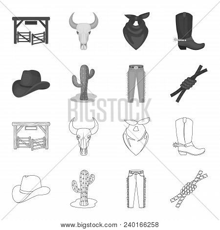 Hat, Cactus, Jeans, Knot On The Lasso. Rodeo Set Collection Icons In Outline, Monochrome Style Vecto