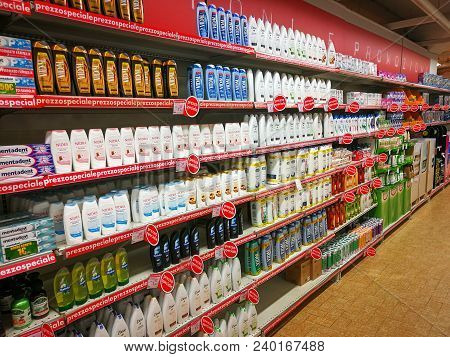 Rome, Italy. May 11, 2018: Shampoo, Soap And Personal Care Products Department Inside