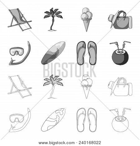 Diving, Surfing, Cocktail.summer Vacation Set Collection Icons In Outline, Monochrome Style Vector S