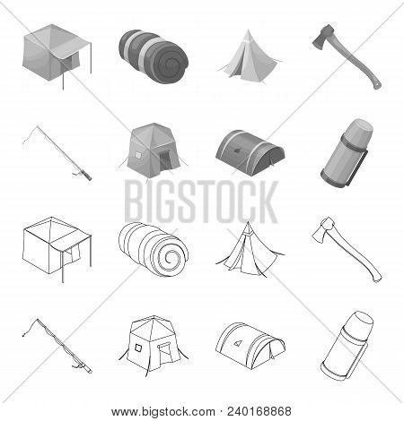 Spinning For Fishing, Tent, Thermos.tent Set Collection Icons In Outline, Monochrome Style Vector Sy