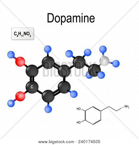 Dopamine (DA, dihydroxyphenethylamine) is an organic chemical of the catecholamine and phenethylamine. neurotransmitter - chemical released by neurons to send signals to other nerve cells. Structural chemical formula and model of molecule of Dopamine poster