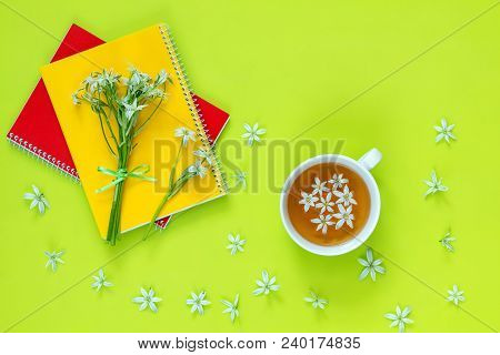 Cup Of Tea With White Flowers On Bright Green Surface. Many Blossom Flower Heads Ornithogalum And Re