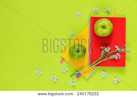 Many Blossom Flower Heads Ornithogalum And Red And Yellow Notebooks With Bouquet, Green Juicy Apples