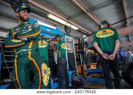 May 04, 2018 - Dover, Delaware, USA: Darrell Wallace, Jr (43) gets ready to practice for the AAA 400 Drive for Autism at Dover International Speedway in Dover, Delaware.