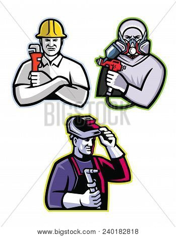 Mascot Icon Illustration Set Of Tradesman Like The Pipefitter Or Plumber, Automotive Or Industrial S