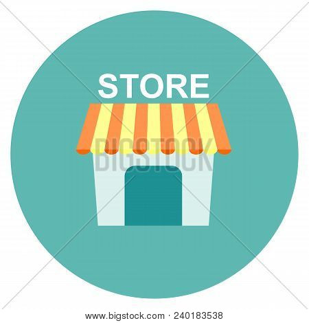 Store Icon Flat. Illustration Isolated On White Background. Stock Flat Vector Illustration.