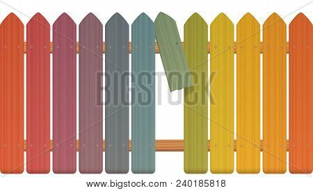 Gap In The Fence - Colored Picket Fence With Broken Plank And Loophole To Slip Through, Escape, Flee
