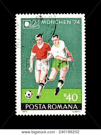 Romania - Circa 1974 : Cancelled Postage Stamp Printed By Romania, That Promotes Football World Cup