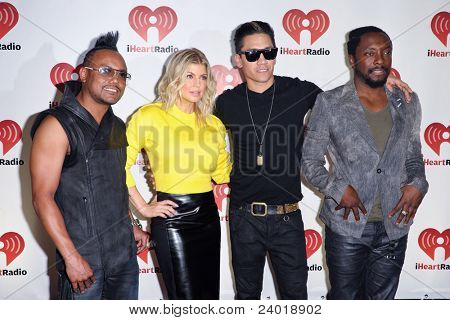 LAS VEGAS - SEPTEMBER 23 - Apl.de.ap, Fergie, Taboo, and will.i.am of the Black Eyed Peas at the 2011 iHeartRadio Music Festival on September 23, 2011 at the MGM Grand Garden Arena in Las Vegas, NV.