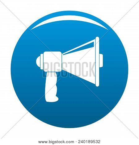 Small Megaphone Icon. Simple Illustration Of Small Megaphone Vector Icon For Any Design Blue