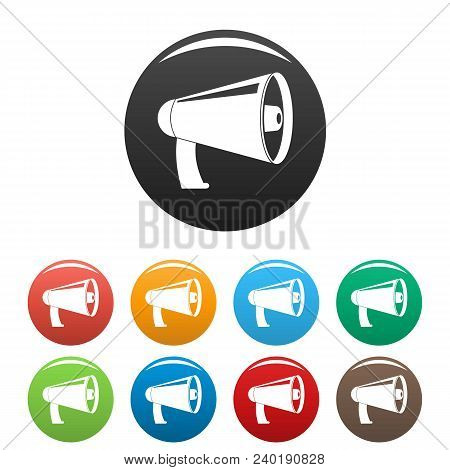 Old Megaphone Icon. Simple Illustration Of Old Megaphone Vector Icons Set Color Isolated On White