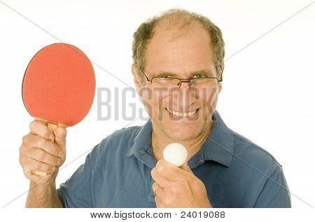 Senior Man Playing Ping-pong Table Tennis