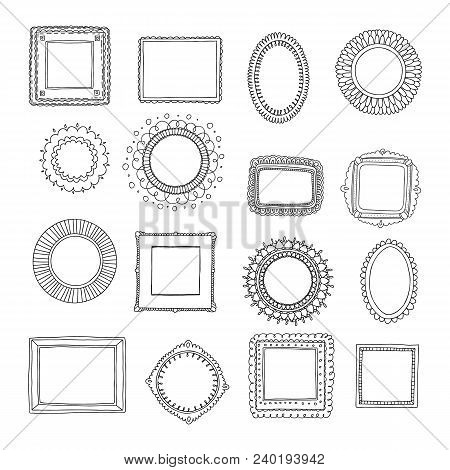Decorative Set Template Photo Frames Isolated On White Background. Scrapbook Or Digital Concept. The