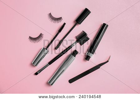 Composition With False Eyelashes On Color Background