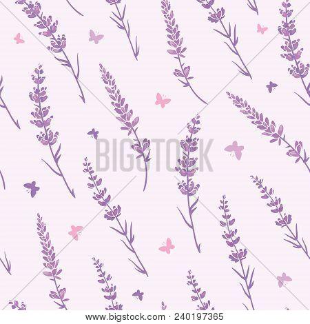 Lavender Field Repeat Pattern Background. Beautiful Violet Lavender Retro Background. Elegant Fabric