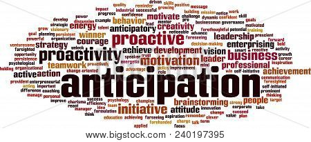 Anticipation Word Cloud Concept. Vector Illustration On White
