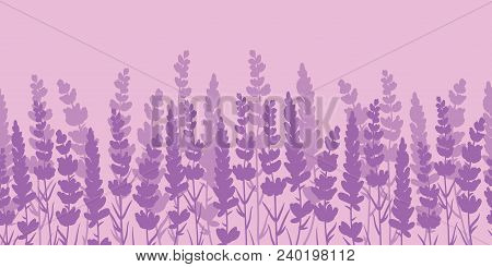 Lavender Flowers Purple Border Seamless Pattern. Beautiful Violet Lavender Flowers Retro Background