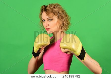Sexy Fighter Girl In Sportswear. Sport And Fitness, Power And Exercising. Young Fighter Boxer Girl W