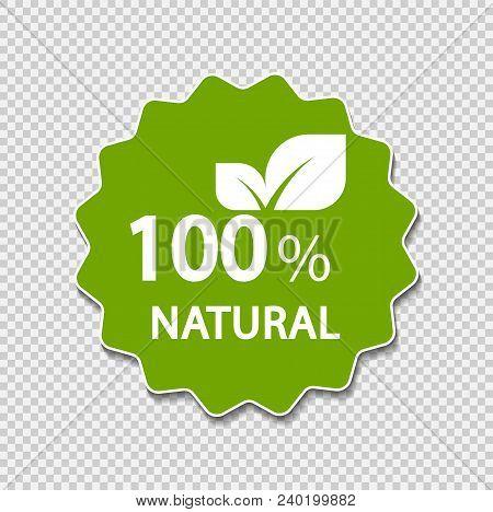 100 Percent Natural Label. Vector Illustration.