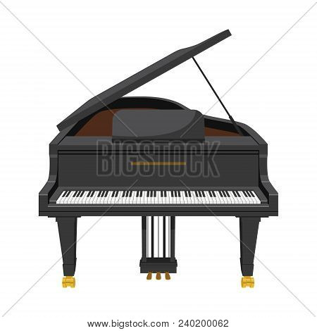 Vector Illustration Of A Grand Piano In Cartoon Style Isolated On White Background