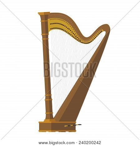 Vector Illustration Of A Harp In Cartoon Style Isolated On White Background