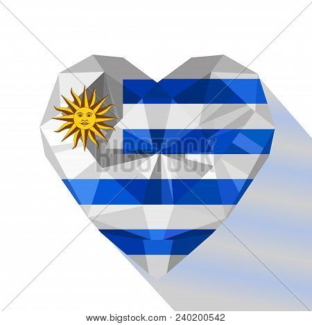 Vector Crystal Gem Jewelry Uruguayan Heart With The Flag Of The Oriental Republic Of Uruguay. Flat S