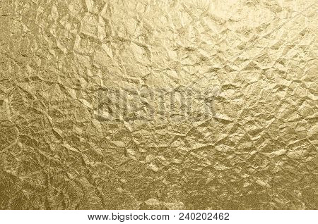 Luxury Foil Gold Wrinkled Texture Holiday Background Abstract Metallic Pattern Copy Space Sparkling