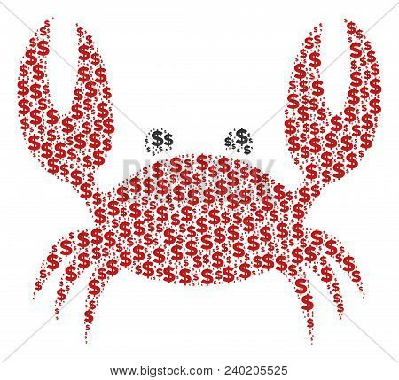 Crab Mosaic Of Dollars And Spheric Spots. Vector Dollar Symbols Are United Into Crab Mosaic.