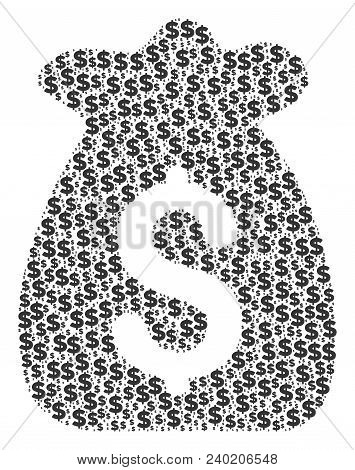 Financial Capital Mosaic Of Dollars And Round Dots. Vector Banking Signs Are United Into Financial C