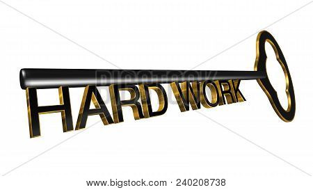 High Resolution 3d Illustration Of Key With Word Hard Work Isolated On Pure White Background. Great