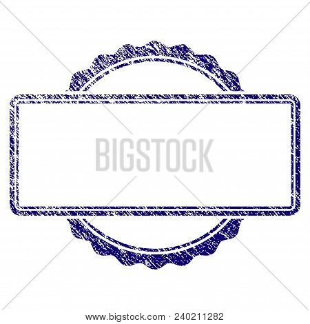 Certificate Rosette Frame Grunge Textured Template. Vector Draft Element With Grainy Design And Corr
