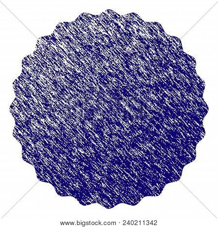 Certificate Rosette Round Frame Grunge Textured Template. Vector Draft Element With Grainy Design An