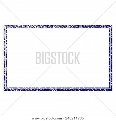 Double Rectangle Frame Grunge Textured Template. Vector Draft Element With Grainy Design And Corrode