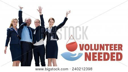 Business people with volunteer needed text and a blood donation graphic