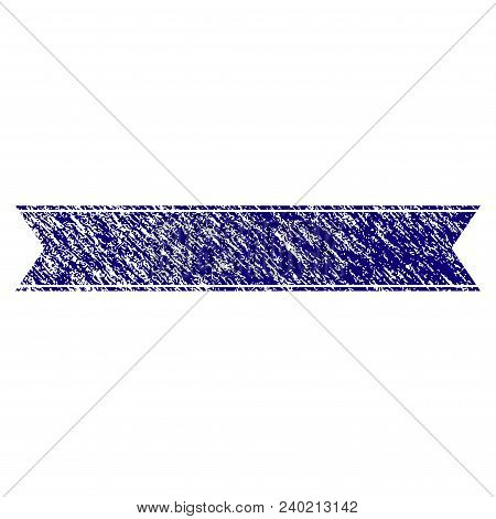 Striped Ribbon Grunge Textured Template. Vector Draft Element With Grainy Design And Corroded Textur