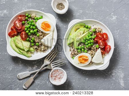 Savory  Breakfast Grain Bowl. Balanced Buddha Bowl With Quinoa, Egg, Avocado, Tomato, Green Pea. Hea