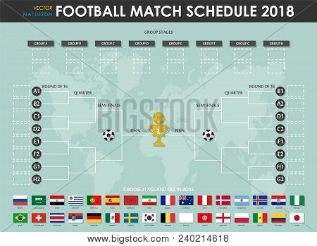 Football Or Soccer Cup Match Schedule And Wall Chart . Vector For International World Championship T