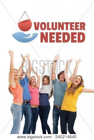 Group of people with volunteer needed text and a blood donation graphic