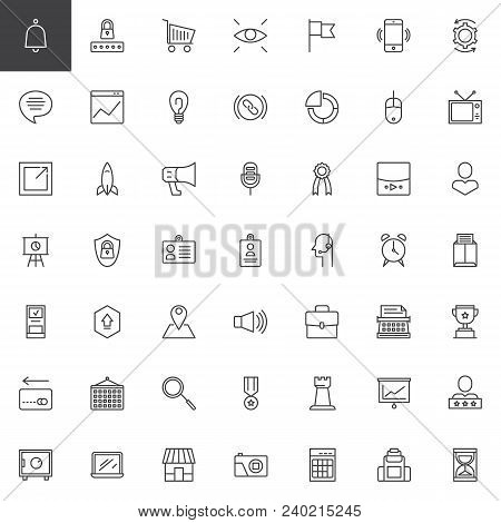 Digital Marketing Outline Icons Set. Linear Style Symbols Collection, Line Signs Pack. Vector Graphi