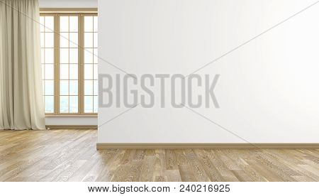 White Wall And Wood Floor Modern Bright Empty Room Interior With Window And Curtain. 3d Render Illus