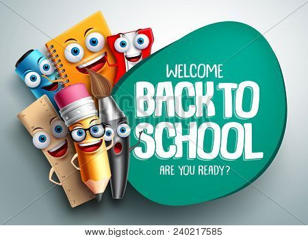 Back To School Vector Banner Design With Colorful Funny School Characters A, Education Items And Spa