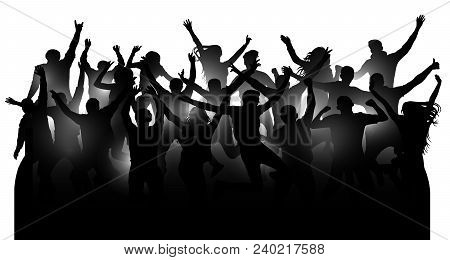Crowd Of Cheerful People, Dancing At The Music Concert, Party, Festival, Club. Audience Cheer Hands